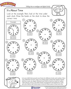 """It's About Time!"" – Kindergarten Math Worksheets #JumpStart"