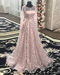 Pink floral lace long a line formal prom dresses with full sleeves from Sweetheart Dress Tesettür Şalvar Modelleri 2020 Prom Dresses With Sleeves, Day Dresses, Evening Dresses, Formal Dresses, Wedding Dresses, Full Sleeve Dresses, Prom Gowns, Party Kleidung, Sweetheart Dress