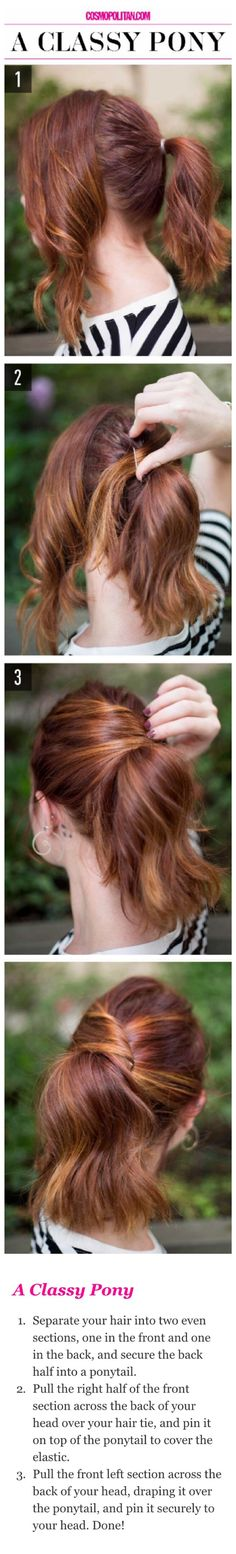 15 Super-Easy Hairstyles for Lazy Girls Who Can't Even - . A classy pony hair tutorial. Lazy Girl Hairstyles, Super Easy Hairstyles, Chic Hairstyles, Wedding Hairstyles, Ladies Hairstyles, Braided Hairstyles, Pixie Hairstyles, Hairstyles 2018, Everyday Hairstyles