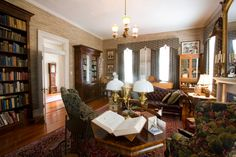 love the 10 foot walnut bookcases and large windows! furniture... not so much.