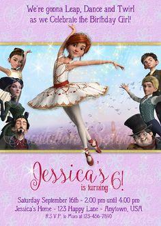 Movie Leap Birthday Party Invitation Ballerina Themed