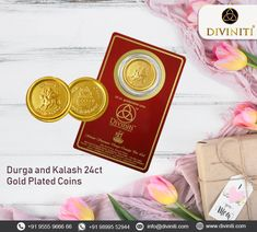 Durga and Kalash Gold Plated Coins on Brass Metal. A Great Gift Idea for Friends and Family. COD Available✅ Coins For Sale, Spiritual Gifts, Home Fragrances, Brass Metal, Durga, Online Gifts, Ganesha, Cod, Plating