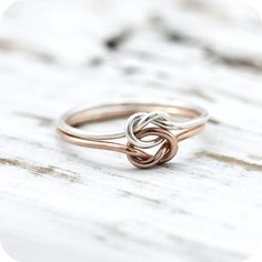 Double knot ring - silver and rose or yellow gold filled ring friendship or promise ring by LeCubicule on Etsy Gold Engagement Rings, Wedding Rings, Double Halo Rings, Rings Pandora, Friendship Jewelry, Claddagh Rings, Argent Sterling, Sterling Silver, Promise Rings