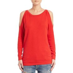 Tart Eva Cold-Shoulder Cotton & Cashmere Sweater ($135) ❤ liked on Polyvore featuring tops, sweaters, apparel & accessories, red, cotton sweater, cold shoulder sweater, cotton cashmere sweater, long sleeve pullover sweater and pullover sweater
