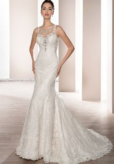Sleeveless fit-in-flare gown | Demetrios 665 | http://trib.al/oIRQ3xN