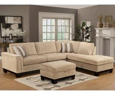 Myco Furniture Opulence Taupe Fabric Upholstery Reversible Sectional Sofa With Ottoman