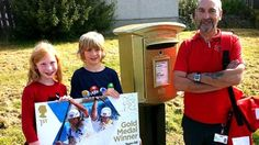 A post box is painted gold in Westhill to honour Tim Baillie's victory in the Olympics canoe slalom event. Canoe Slalom, University Graduate, Gold Medal Winners, Post Box, Nottingham, Landline Phone, Olympics, Bbc, Scotland