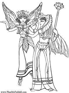Egyptian Fairies Coloring Page