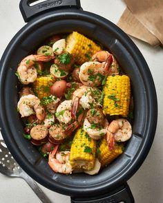 How to Make the Best Shrimp Boil in the Slow Cooker   Kitchn Crock Pot Shrimp, Shrimp Recipes Crockpot, Slow Cooker Recipes, Seafood Recipes, Cooking Recipes, Healthy Recipes, Summer Crock Pot Recipes, Dinner Recipes, Crockpot Dishes