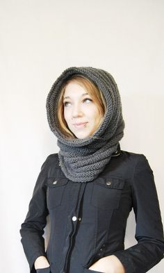Would have loved one of these today! Knight's Cowl/Hood in Dark Grey by YesJess on Etsy, $76.00