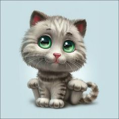 Cute Cat illustration by Anna Antracit on Behance ♥ Cute Animal Drawings, Cat Drawing, Big Eyes, Cute Baby Animals, Cat Art, Cats And Kittens, Siamese Cats, Cute Cats, Cute Pictures