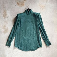 Green Jacquard Weave Silk Blouse Bell Sleeves, Bell Sleeve Top, Jacquard Weave, Balmain, Weaving, Hearts, Silk, Blouse, Green