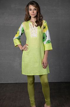 Linen kurti embellished with lace and digital print