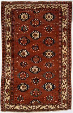 Carpet    Date:      19th century  Geography:      Central Asia  Medium:      Wool pile on wool and cotton foundation  Dimensions:      H. 108 1/2 in. (275.6 cm) W. 69 in. (175.2 cm)  Classification:      Textiles