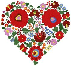 Fototapeta - Heart made from traditional Hungarian embroidery pattern