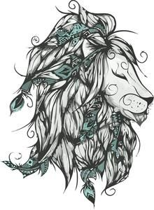 Poetic Lion Turquoise Art Print by LouJah - X-Small Trendy Tattoos, Sexy Tattoos, Body Art Tattoos, Mini Tattoos, Sternum Tattoo, Leo Lion Tattoos, Turquoise Throw Pillows, Lioness Tattoo, Aquarell Tattoo