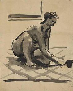 David Park - Portrait of Bergliot Lustig, 1957,  ink wash on paper, 43 x 36 cm
