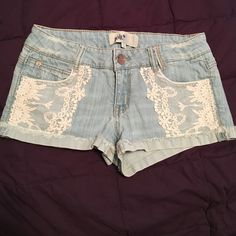 Jean shorts Light Jean shorts with lace on front. Jolt Shorts Jean Shorts