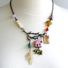 Tree Branch Beaded Statement Necklace, Nature Jewelry, Chunky Necklace, Tribal Jewelry