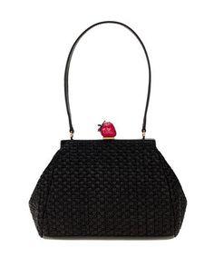 Moschino Cheap&Chic borsa in paglietta nera con manico in pelle e chiusura a fragola