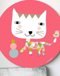 cuadros infantiles gato pajarito