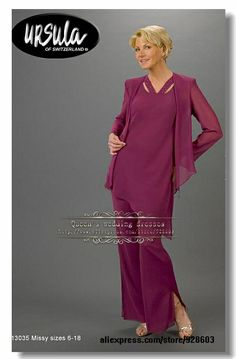 Red Grape Chiffon Asymmetry mother of the bride pants suit US $148.00