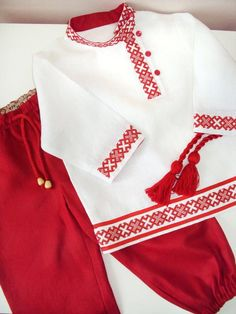 Embroidered Ethnic Costume, Boy's Shirt & Pants Trousers, Linen Slavic Shirt, Russian Folk Clothing For Kids, Russian Traditional Shirt Girls Dresses Sewing, Stylish Dresses For Girls, Stylish Dress Designs, Dresses Kids Girl, Frocks For Girls, Kids Outfits, Baby Girl Dress Patterns, Baby Dress Design, Frock Design