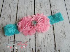 Candy Pink & Turquoise Lace Headband with Matching Rhinestone -  Vintage Shabby Chic Style - Newborn Infant Baby Toddler Girls Cake Smash