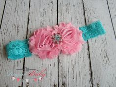 Candy Pink & Turquoise Lace Headband with Matching Rhinestone -  Vintage Shabby Chic Style - Newborn Infant Baby Toddler Girls Cake Smash