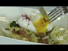 Watch as CIA Chef Sergio Remolina prepares Lyonnaise-style Frisée Salad from the menu at The Bocuse Restaurant! Wine Recipes, Cooking Recipes, Healthy Recipes, Specialty Foods, French Food, Bon Appetit, Restaurant, Breakfast, Dressings
