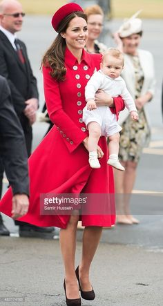 Catherine, Duchess of Cambridge and Prince George of Cambridge arrive at…