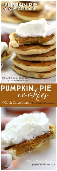 Pumpkin Pie Cookies! ♥ COOK CRAVE INSPIRE by www.spendwithpennies.com  These delicious little cookies have a flaky little crust filled with a creamy pumpkin pie filling!  Easy to make and totally irresistible!