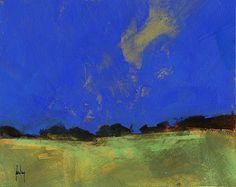 Deep blue sky painting by Paul Steven Bailey.