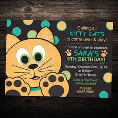 Cute Kitty Cat Birthday Party Invitation by LittleBeesGraphics, $12.99