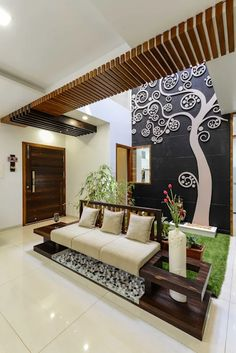 Design Discover Luxurious and Bright Interiors for a 3600 sq ft Bungalow Design in Kolhapur Maharashtra Ceiling Design Living Room, False Ceiling Design, Living Room Designs, Minimalist House Design, Minimalist Home, Beautiful Interior Design, Home Interior Design, Small Bungalow, Bungalow Interiors