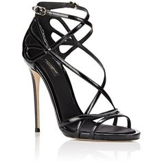 Dolce & Gabbana Women's Patent Leather Strappy Sandals (1.505 BRL) ❤ liked on Polyvore featuring shoes, sandals, heels, sapatos, scarpe, open toe heel sandals, strap heel sandals, criss-cross sandals, strappy heeled sandals and patent leather sandals