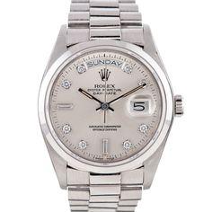 ROLEX Circa 1988 Platinum Day-Date with Large Diamond Mark