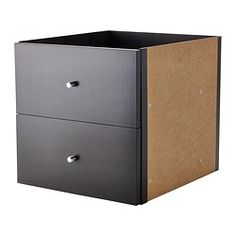 This is what we need for our shelving unit! KALLAX Insert with 2 drawers - black-brown - IKEA Kallax Desk, Ikea Kallax Shelving, Kallax Shelving Unit, Kallax Insert, Ikea Deco, Small Space Living, New Room, Home Organization, Home Furnishings