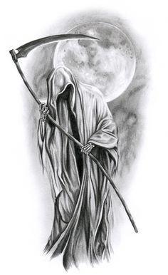 angel of death tattoo designs Tatuaje Grim Reaper, Grim Reaper Art, Grim Reaper Tattoo, Don't Fear The Reaper, Grim Reaper Images, Skull Tattoo Design, Skull Tattoos, Body Art Tattoos, Sleeve Tattoos