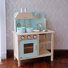 Amazon.com: wooden white childrens kitchen Childrens Kitchens, Toddler Furniture, Kitchen Cart, Chair, Table, Home Decor, Toy House, Wood Games, Girls Toys