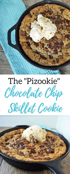 Lady's Chocolate Chip Skillet Cookie is a warm, ooey, gooey chocolate chip cookie topped with vanilla bean ice cream. This is the BEST chocolate chip skillet cookie pizookie recipe ever! Cast Iron Skillet Cookie, Iron Skillet Recipes, Cast Iron Recipes, Skillet Meals, Skillet Cooking, Dessert Simple, Brownie Desserts, Pizookie Recipe, Gooey Chocolate Chip Cookies
