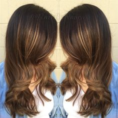 Caramel light golden brown hi Lites ombré sombre Balayage wavy layer hair style