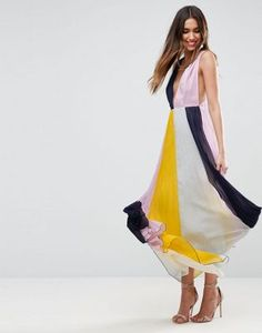 ASOS Pleated ColourBlock Maxi Dress