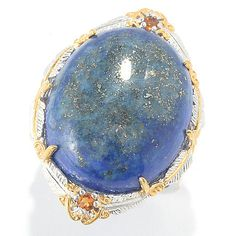 147-473- Gems en Vogue 22 x 18mm Lapis & Madeira Citrine Feather Ring