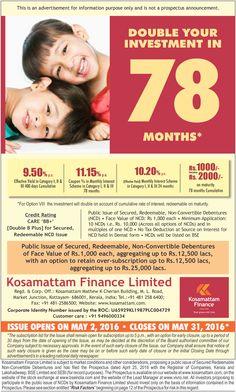 Kosamattam NCD Issue Started !!! Visit : www.kosamattam.com/NCD-Prospectus.html Contact your nearest #Kosamattam branch : +91 - 481 - 2586400