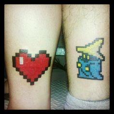 8bit tattoo, heart, zelda, Vivi Final Fantasy, matching tattoos, 1 year wedding anniversary
