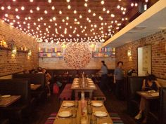 Mexican Restaurant Design, Meat Restaurant, Sport Bar Design, Family Style Restaurants, Horchata, Wood And Metal, Ceiling Lights, Bench, Nyc