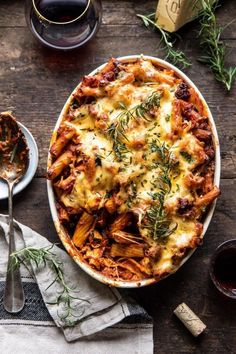 This One Pot Spicy Pesto Cheese Baked Rigatoni is for nights when you're craving Italian, but you also need something simple and easy to prepare. Pasta Recipes, Dinner Recipes, Cooking Recipes, Dinner Menu, Shrimp Recipes, Kale Recipes, Lentil Recipes, Eggplant Recipes, Sausage Recipes