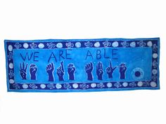 """Batik  Wallhanging - """"We Are Able"""" - African Wax Print - Support Deaf Schools Ghana. $20.00, via Etsy."""
