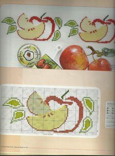 Gallery.ru / Фото #3 - ponto cruz 20 - ergoxeiro Cross Stitch Fruit, Cross Stitch Kitchen, Cross Stitch Flowers, Cross Stitch Patterns, Crochet Double, Stitch 2, Le Point, Chart, Chocolate
